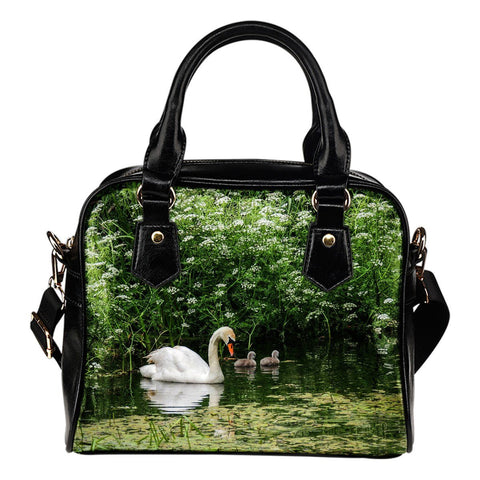 Shoulder Bag - Swan and Cygnets at Doneraile Park, County Cork Shoulder Bag Moods of Ireland