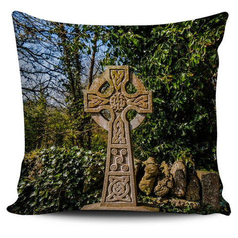 Pillow Cover - Celtic Cross at Desert O'Dea Graveyard, County Clare Pillow Cover Moods of Ireland