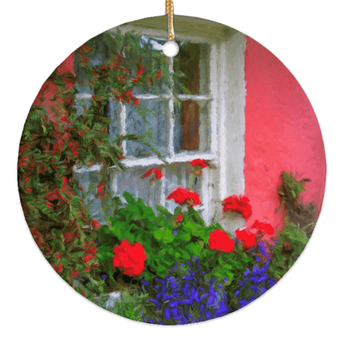Porcelain Ornament - Bunratty Cottage Windowbox Ornament Moods of Ireland Round