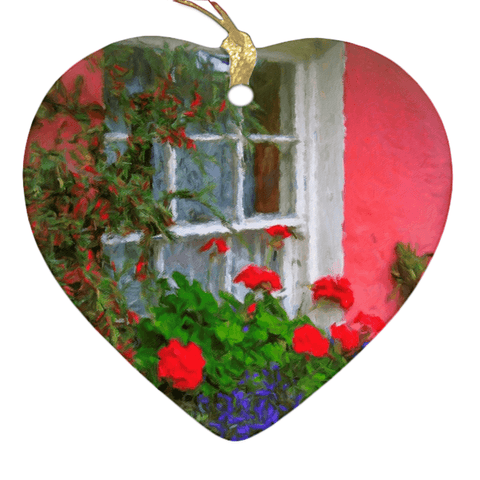 Porcelain Ornament - Bunratty Cottage Windowbox Ornament Moods of Ireland Heart