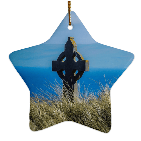 Porcelain Ornaments - Celtic Cross & Atlantic Ocean Ornaments Moods of Ireland Star