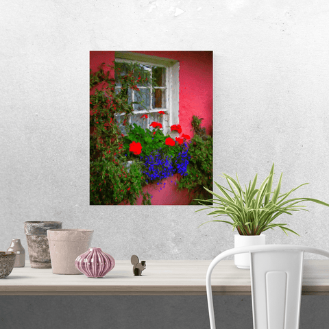 Image of Poster Print - Irish Cottage Window at Bunratty Castle, County Clare Poster Moods of Ireland