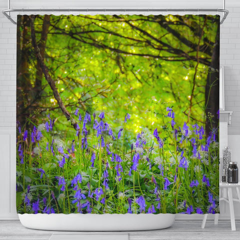 Image of Shower Curtain - Clondegad Bluebells in County Clare, Ireland Shower Curtain Moods of Ireland