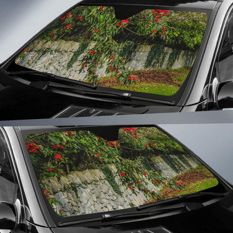 Image of Auto Sun Shade - Irish Spring Cottoneaster and Stone Wall in County Clare Auto Sun Shade Moods of Ireland