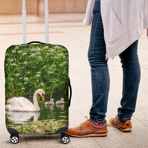 Image of Luggage Cover - Swan and Cygnets at Doneraile Park, County Cork Luggage Cover Moods of Ireland