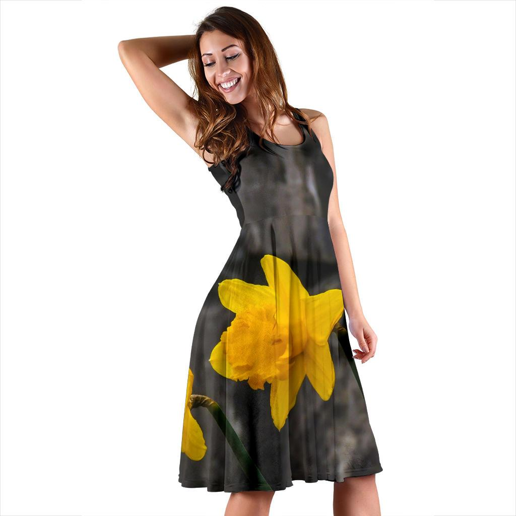 Midi Dress - County Clare Daffodils Midi Dress Moods of Ireland