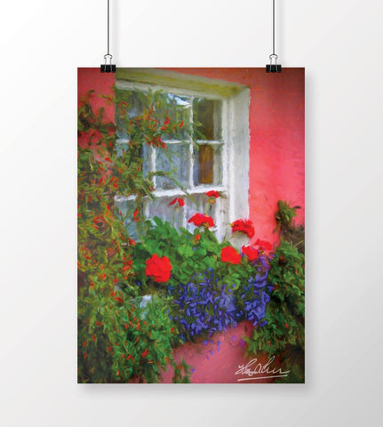 Image of Irish Cottage Window at Bunratty Poster Poster Moods of Ireland