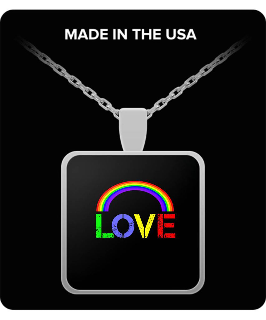 Love Pendant LGBT Gift Rainbow Silver-Plated Pendant Necklace Moods of Ireland