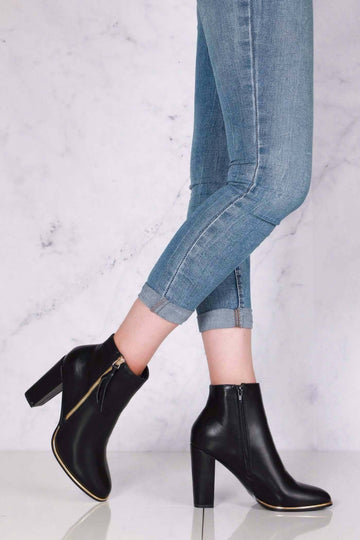 Isabelle Zip Detail with Tassel Block Heel Ankle Boot in Black Matt
