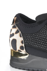 Stretch Band Diamante Lace Up Trainer in Leopard