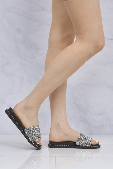 Bead & Sequin Stud Sole Slider in Silver