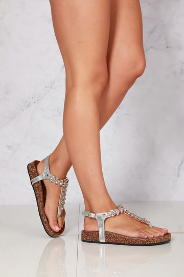 Flynn t bar diamante flower detailed sandal in Silver
