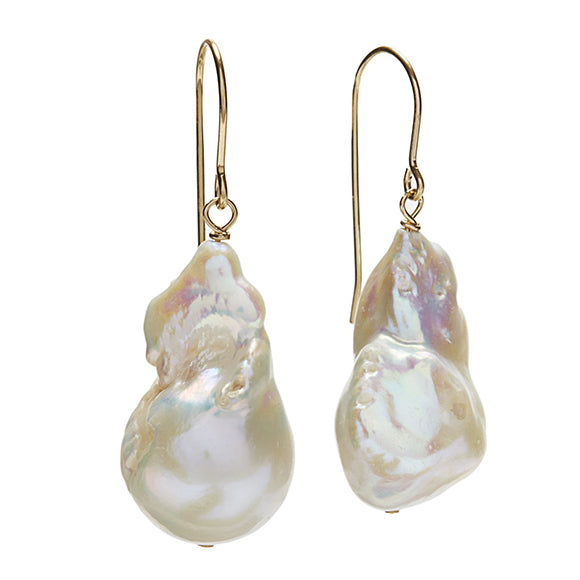 Baroque Pearl Earrings - Gold/White