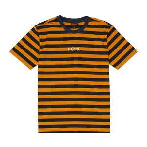 Fuck Stripes Embroidered Tee Navy/Yellow/Silver