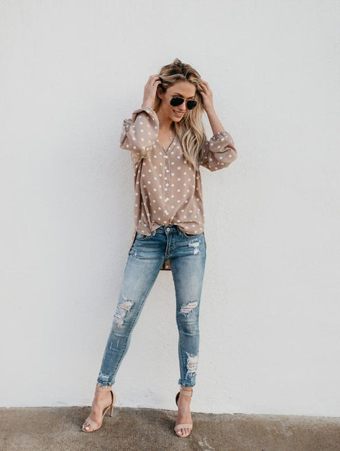 Dot Printed Loose Long Sleeves