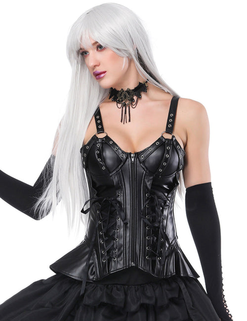 Strap 9 Plastic Boned Lacing-Up Corset