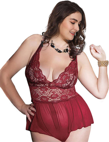 Strappy Floral Lace Teddy Scalloped Trim