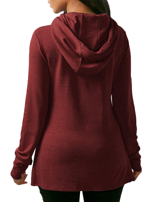Pretty Fall Drawstring Hoodies Long Sleeves Front Split Loose