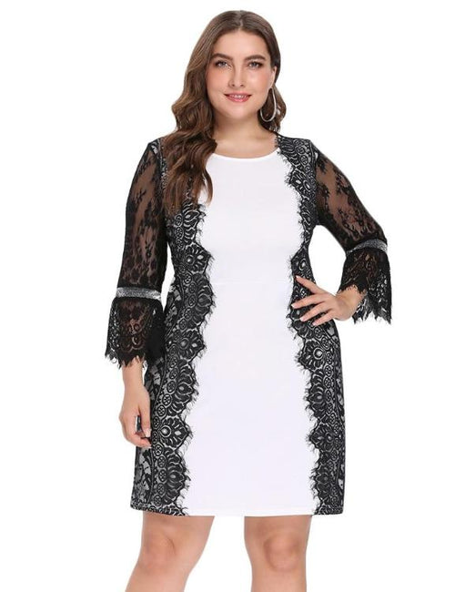 Round Collar Bell Sleeve Spliced Lace Dress
