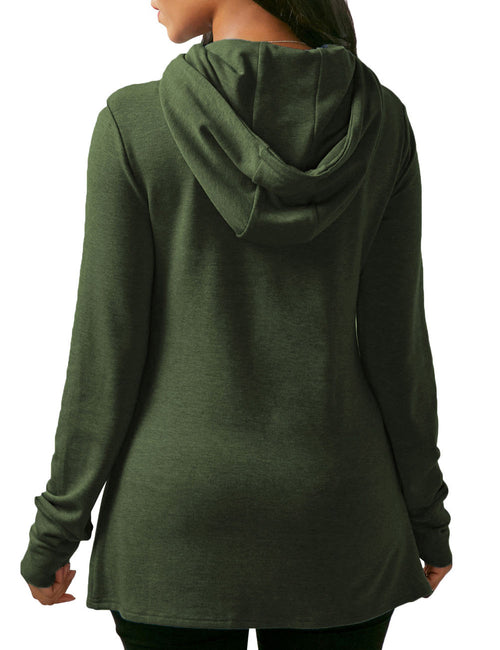 Stylish Winter Sporty Drawstring Hood Sweatshirt Irregular Hem Soft