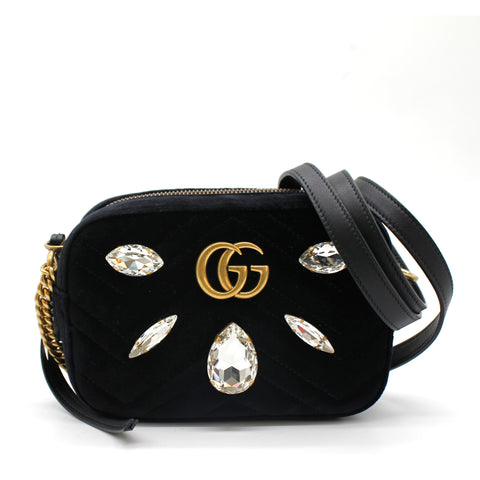Gucci Velvet Matelasse Marquise Crystals Mini GG Marmont Bag Black