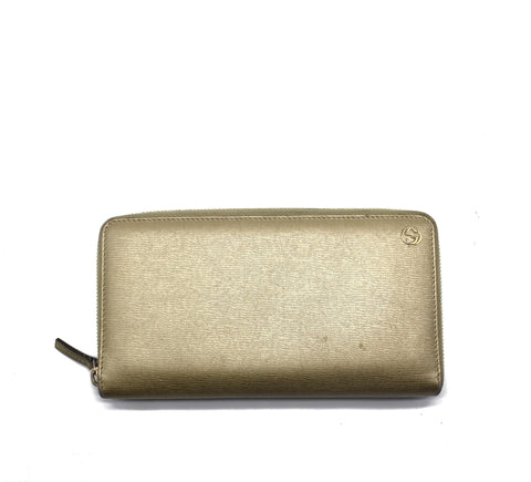 Gucci Gold Betty Leather Zip Around Winterlocking Wallet