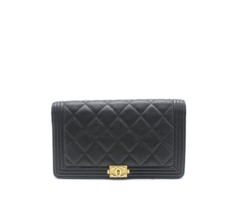 Chanel Quilted Lambskin Leather Boy L Yen Wallet