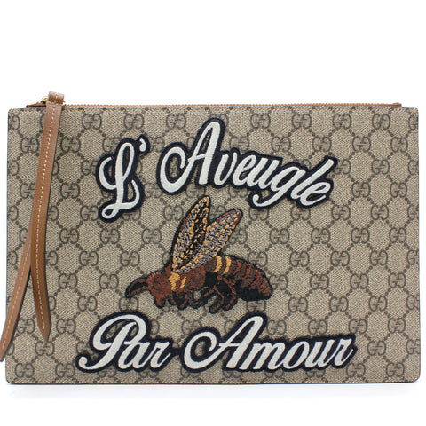 Supreme Monogram Embroidered Large Blind For Love Zip Pouch Brown