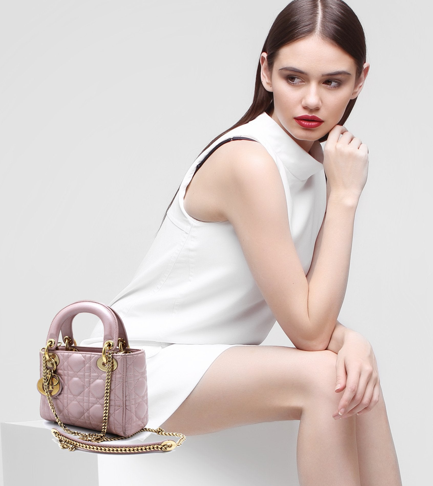 Christian Dior Mini Lady Dior Bag with Chain in Lotus Pearly Lambskin