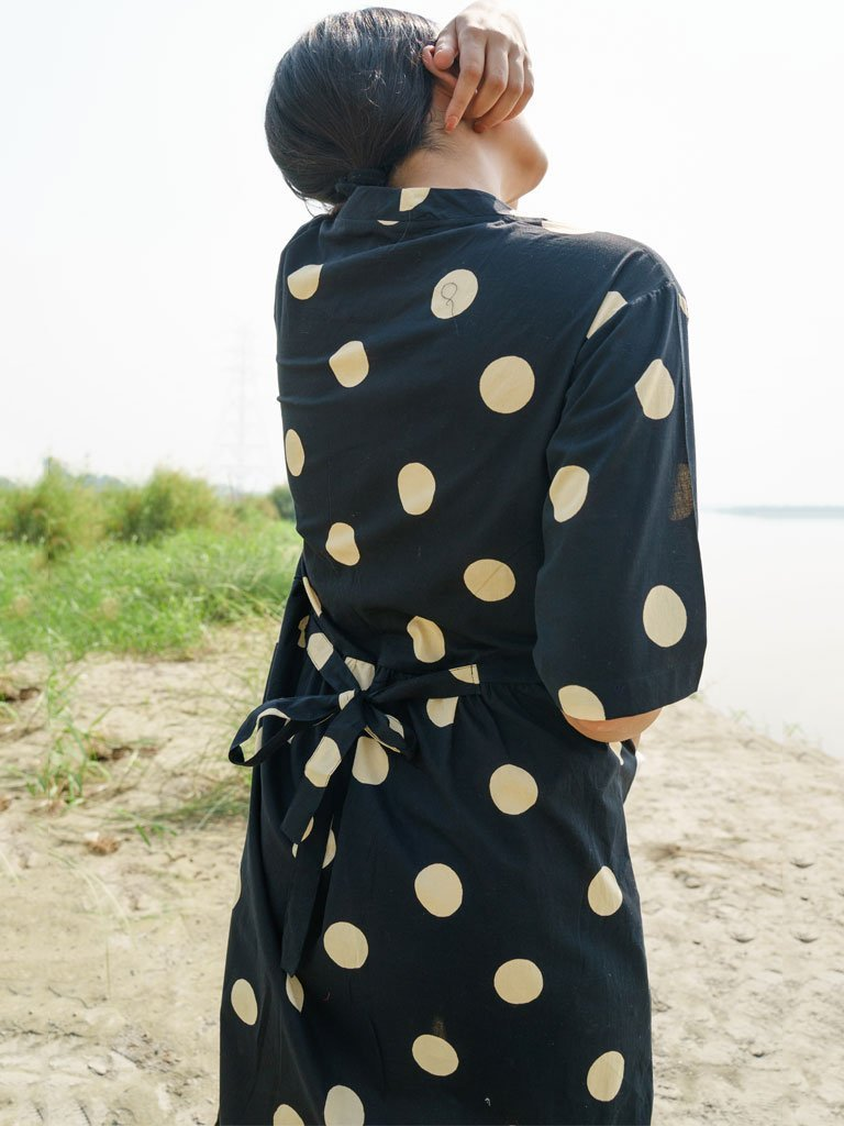 Black And Beige Polka Dress - DRESSES - IKKIVI - Shop Sustainable & Ethical Fashion