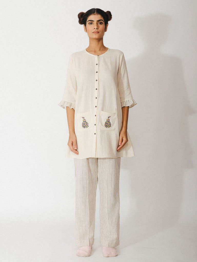 off white handwoven kora khadi tunic with pockets image