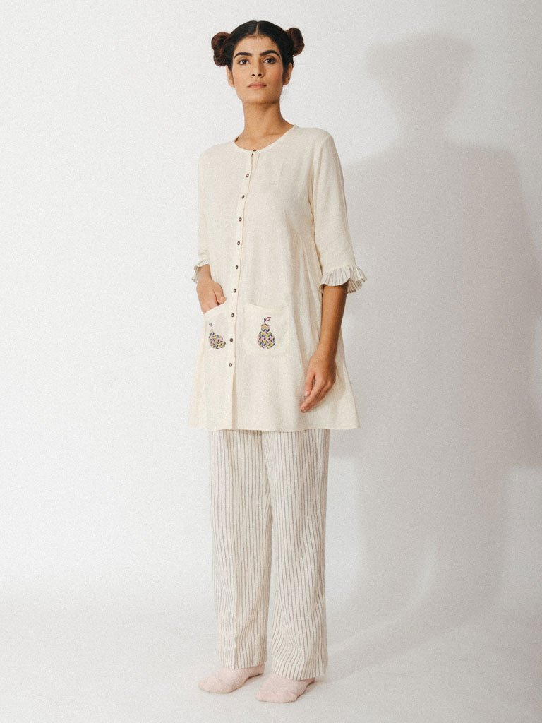 off white handwoven kora khadi tunic with pockets image2