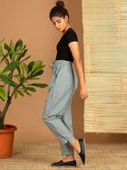 Blue Check Pants - SKIRTS & TROUSERS - IKKIVI - Shop Sustainable & Ethical Fashion