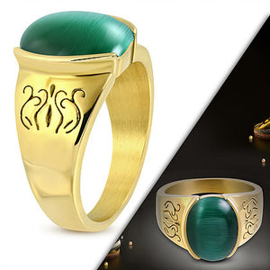 Ring Steel - Gold Plated Ring with Cat Eye Stone-RBR393