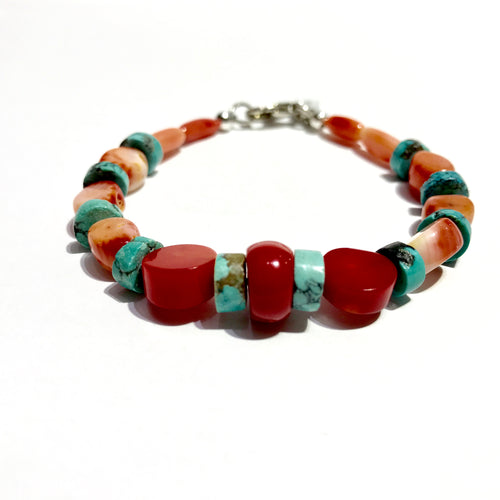 Coral & Turquoise Bracelet fNecklact - $ 55.00 Sterling silver Clasp