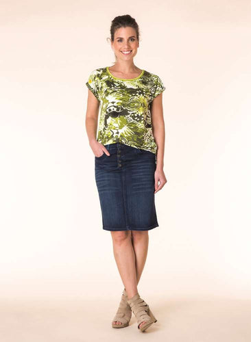 STRETCH DENIM SKIRT-The Men's Shoppe & Her Boutique