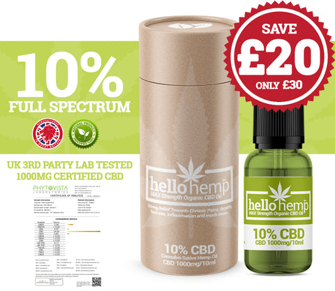 Hello Hemp CBD Oil - 10% 1000mg
