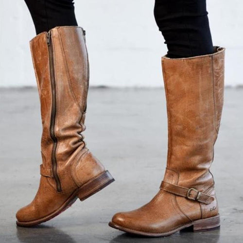 Formal Fashion Thermal Leather Zipper High Tube Boots