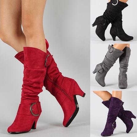 Fashion Metal Button Point Toe High Heel  Boots