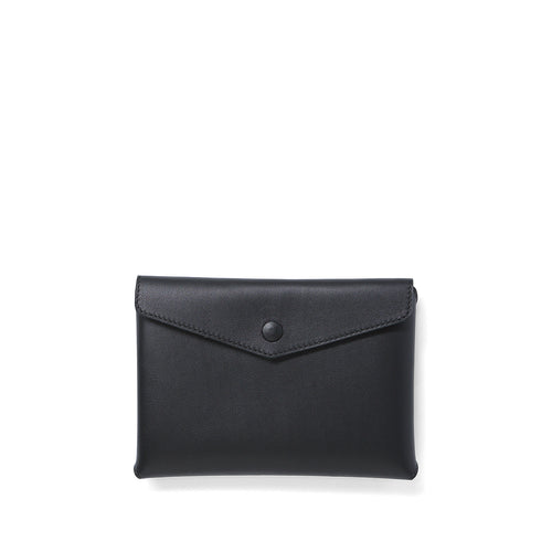 Handmade black leather Envelope Pouch