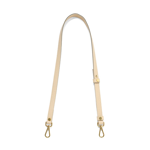 Sable leather cross body strap with gold tone clasps