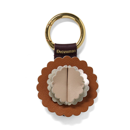 Taupe and tan leather Starburst key ring