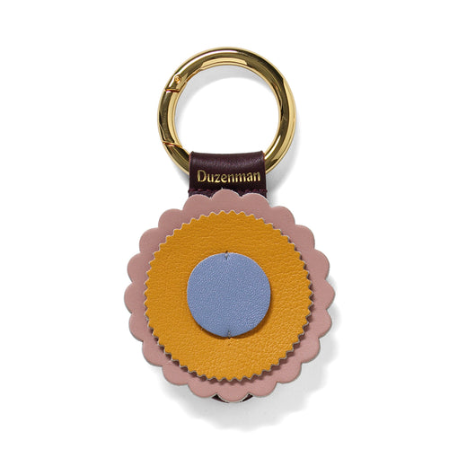 Mustard and lavender leather sunrise key ring