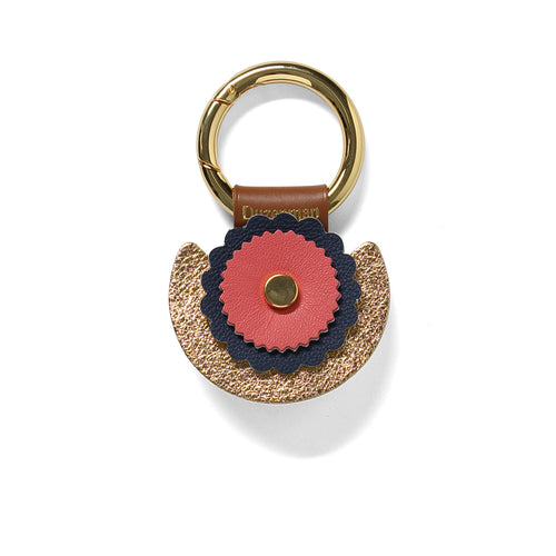 Coral and navy leather sunset key ring