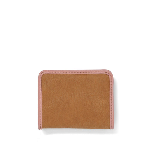 Tan nubuck leather Demi wallet front