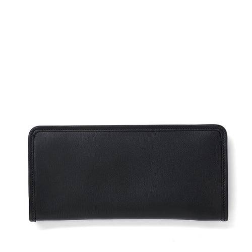 Black leather long wallet front