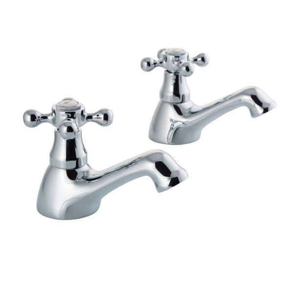 Cassellie Albert Traditional Bath Pillar Taps - Pair - Chrome