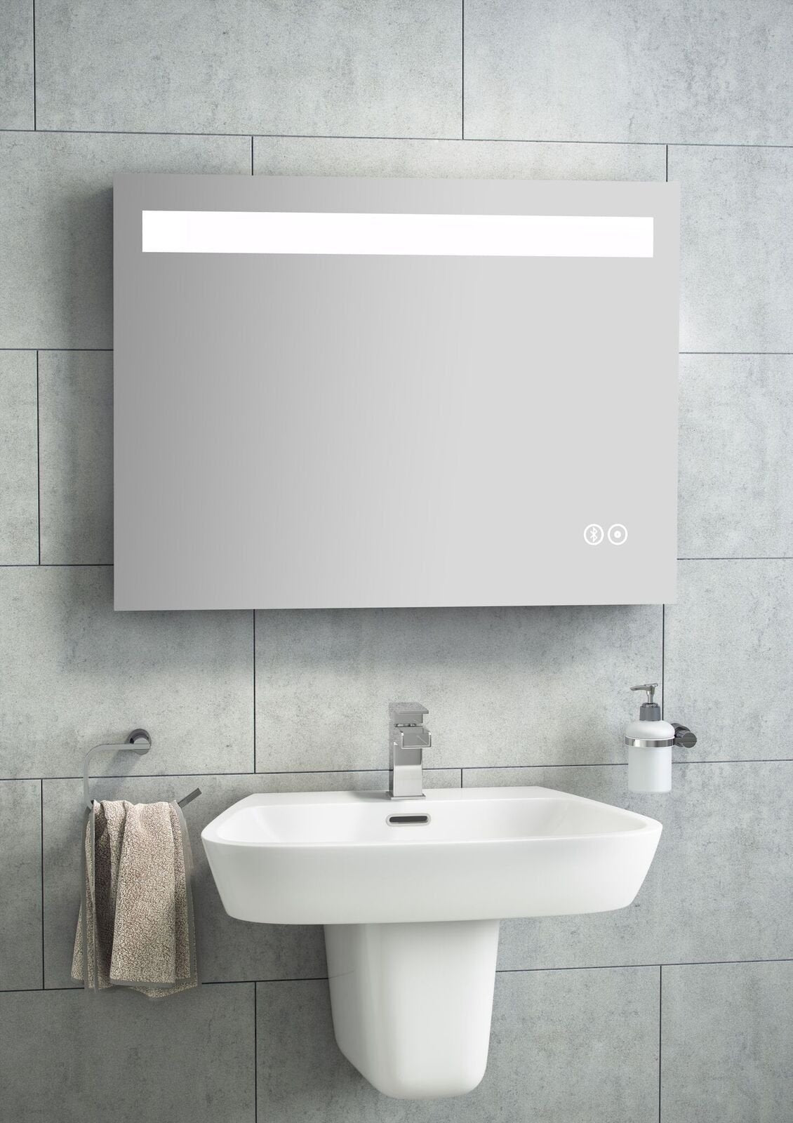 Cassellie LED Mirror with Touch Sensor & Bluetooth - 1200 x 600mm
