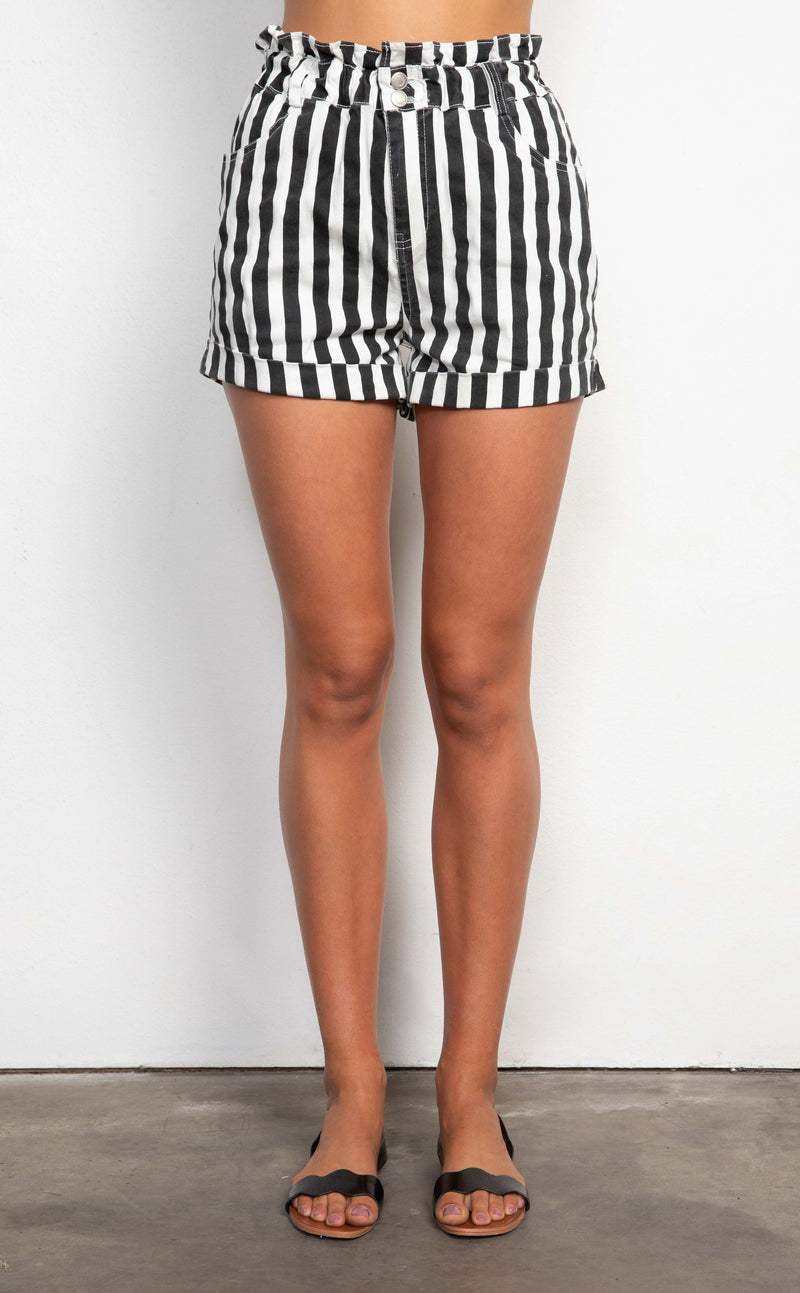 High Waisted Striped Shorts