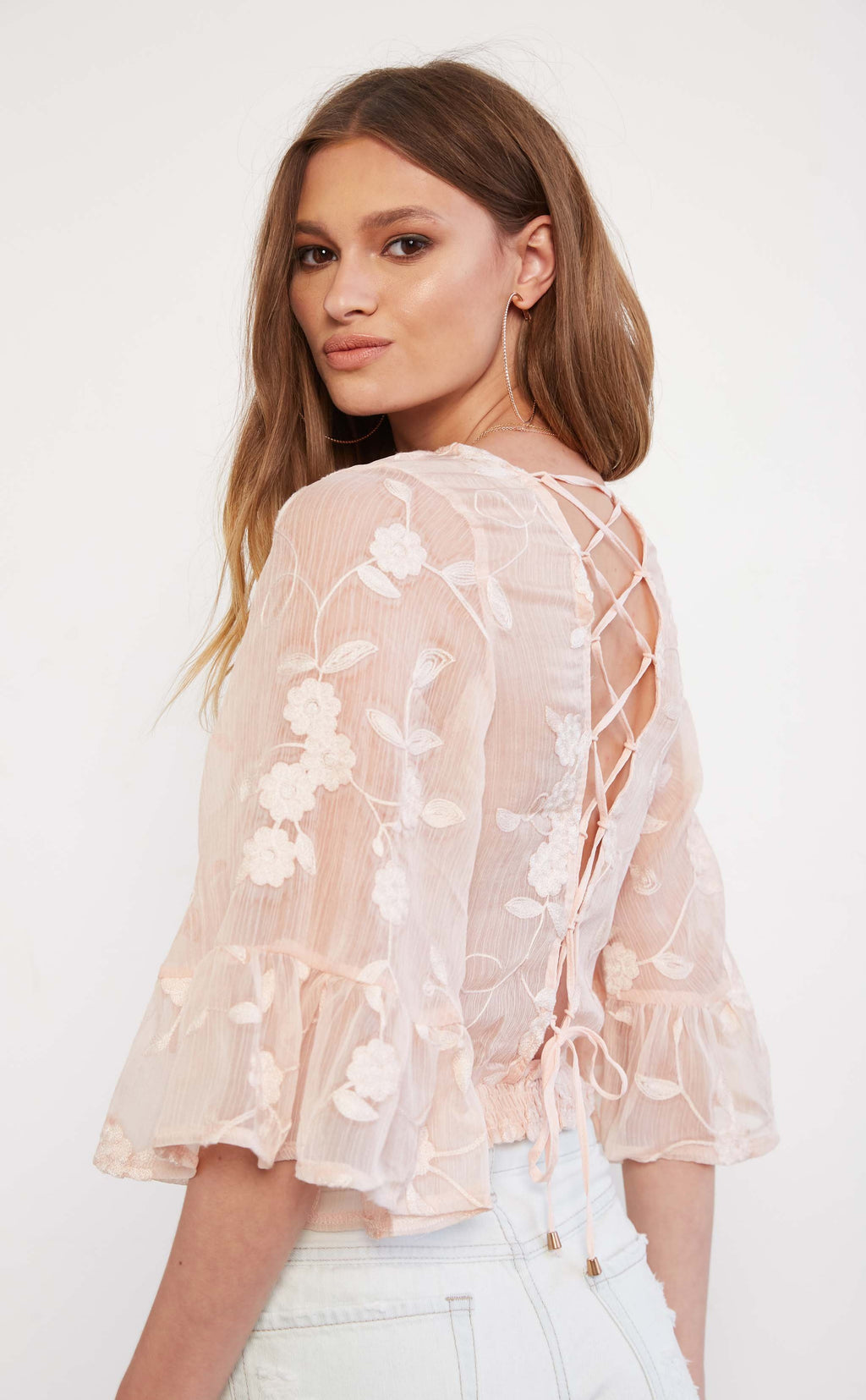Sheer Lace Up Blouse